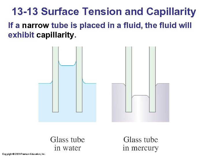 13 -13 Surface Tension and Capillarity If a narrow tube is placed in a