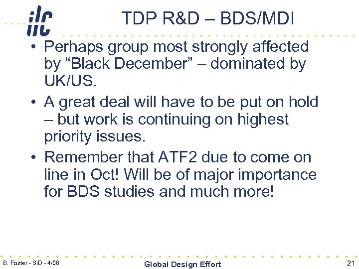 "TDP R&D – BDS/MDI • Perhaps group most strongly affected by ""Black December"" –"