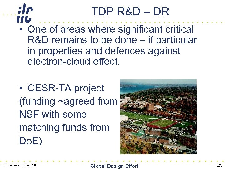 TDP R&D – DR • One of areas where significant critical R&D remains to