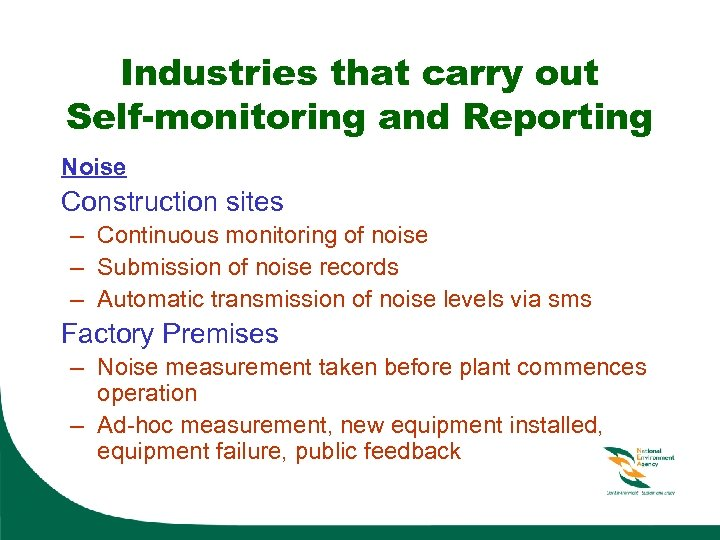 Industries that carry out Self-monitoring and Reporting Noise Construction sites – Continuous monitoring of