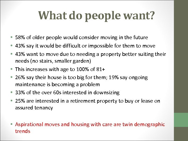 What do people want? • 58% of older people would consider moving in the