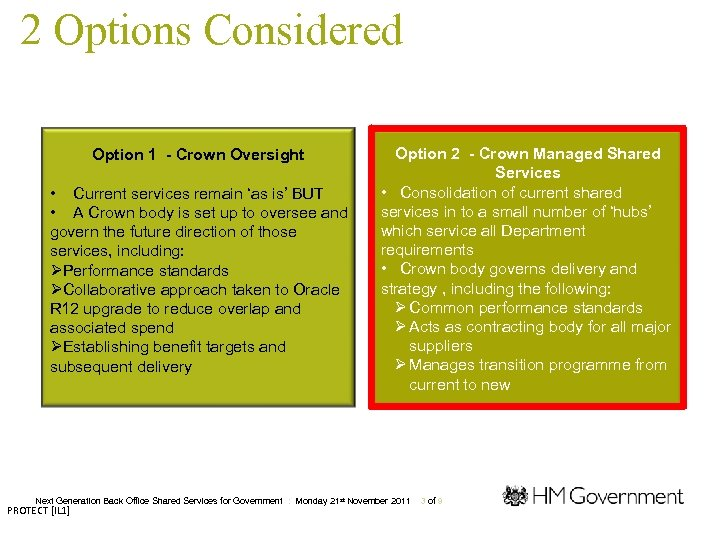 2 Options Considered Option 1 - Crown Oversight • Current services remain 'as is'