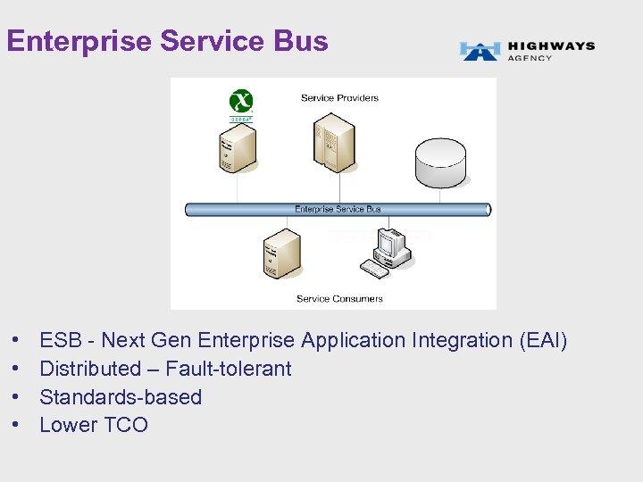 Enterprise Service Bus • • ESB - Next Gen Enterprise Application Integration (EAI) Distributed