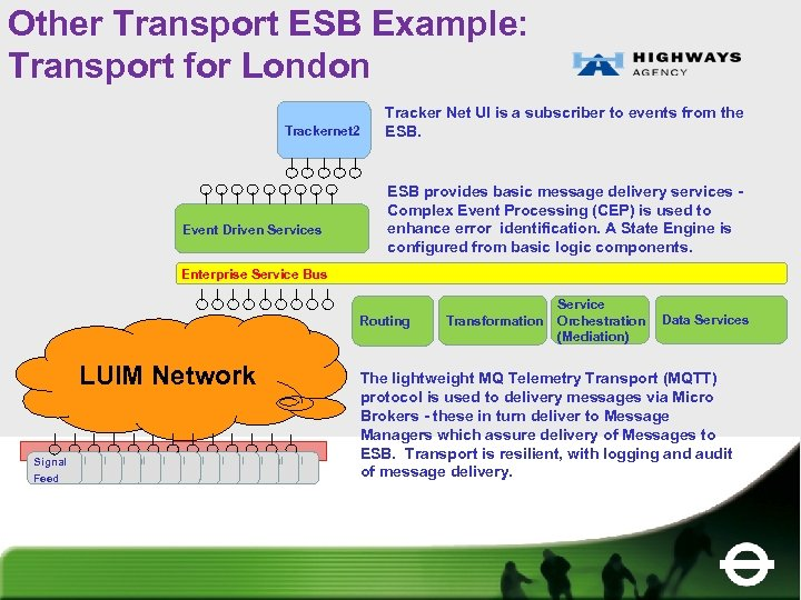 Other Transport ESB Example: Transport for London Trackernet 2 Event Driven Services Tracker Net