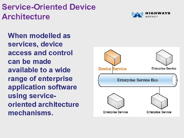 Service-Oriented Device Architecture When modelled as services, device access and control can be made