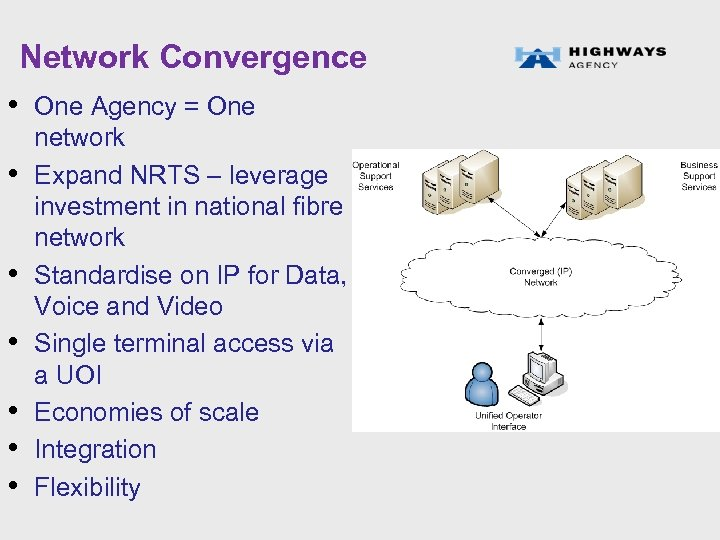 Network Convergence • One Agency = One • • • network Expand NRTS –