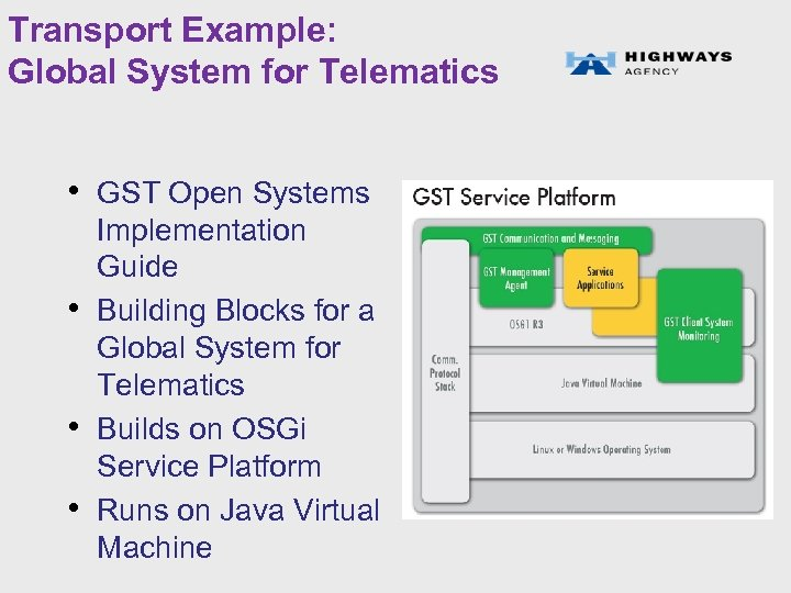 Transport Example: Global System for Telematics • GST Open Systems • • • Implementation