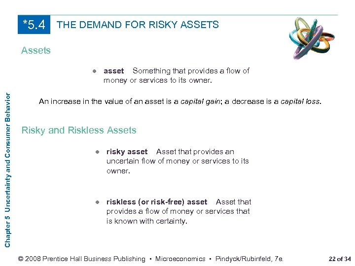 *5. 4 THE DEMAND FOR RISKY ASSETS Assets Chapter 5 Uncertainty and Consumer Behavior