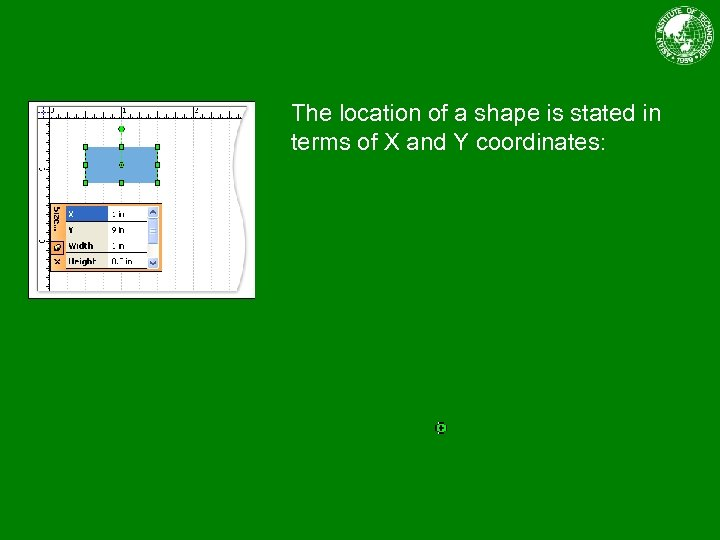 The location of a shape is stated in terms of X and Y coordinates: