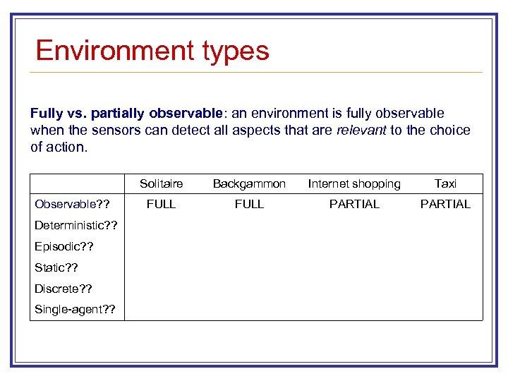 Environment types Fully vs. partially observable: an environment is fully observable when the sensors