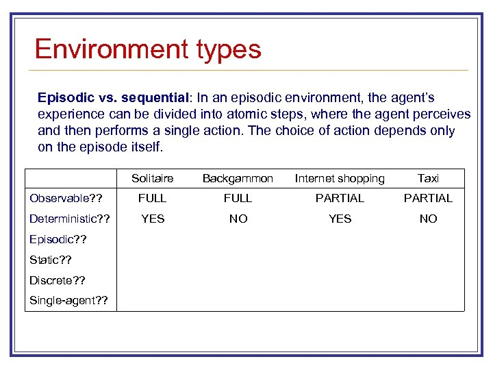 Environment types Episodic vs. sequential: In an episodic environment, the agent's experience can be