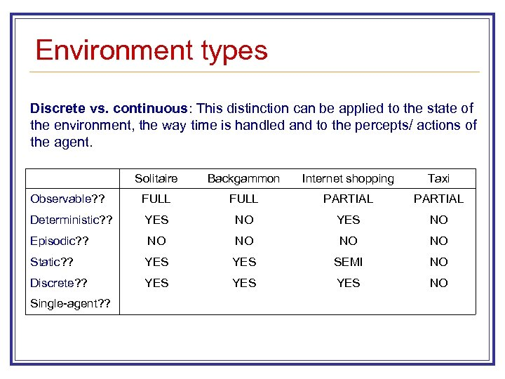 Environment types Discrete vs. continuous: This distinction can be applied to the state of