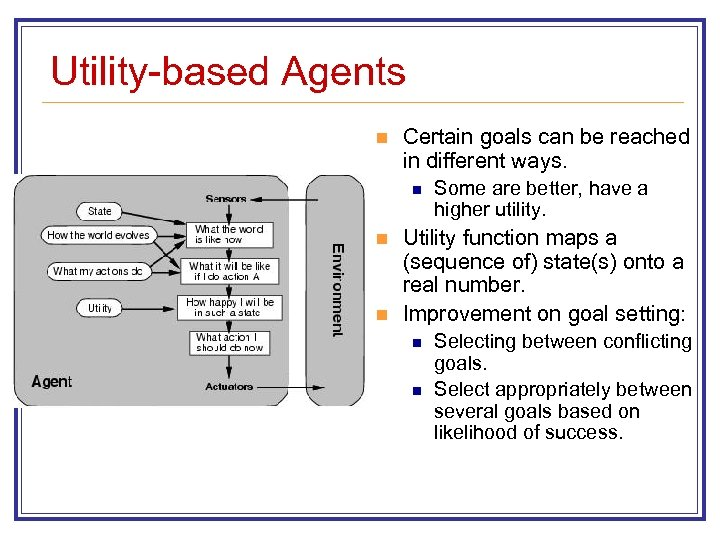 Utility-based Agents n Certain goals can be reached in different ways. n n n