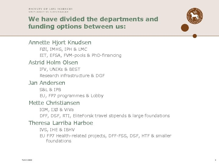 We have divided the departments and funding options between us: Annette Hjort Knudsen FØI,