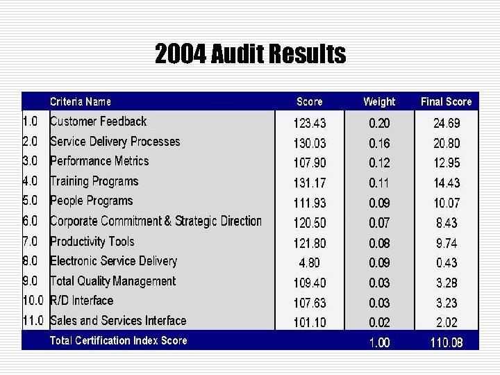 2004 Audit Results