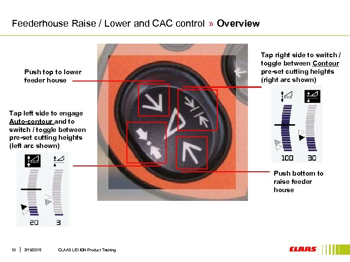Feederhouse Raise / Lower and CAC control » Overview Push top to lower feeder