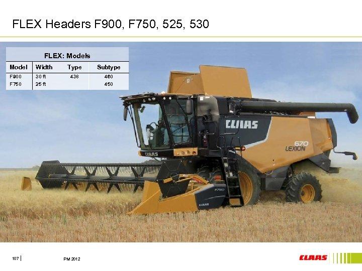 FLEX Headers F 900, F 750, 525, 530 FLEX: Models Model Width F 900