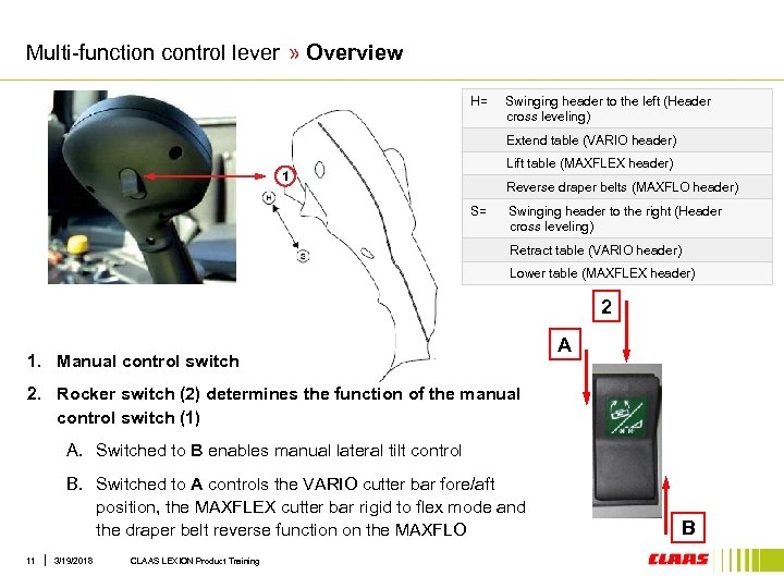 Multi-function control lever » Overview H= Swinging header to the left (Header cross leveling)