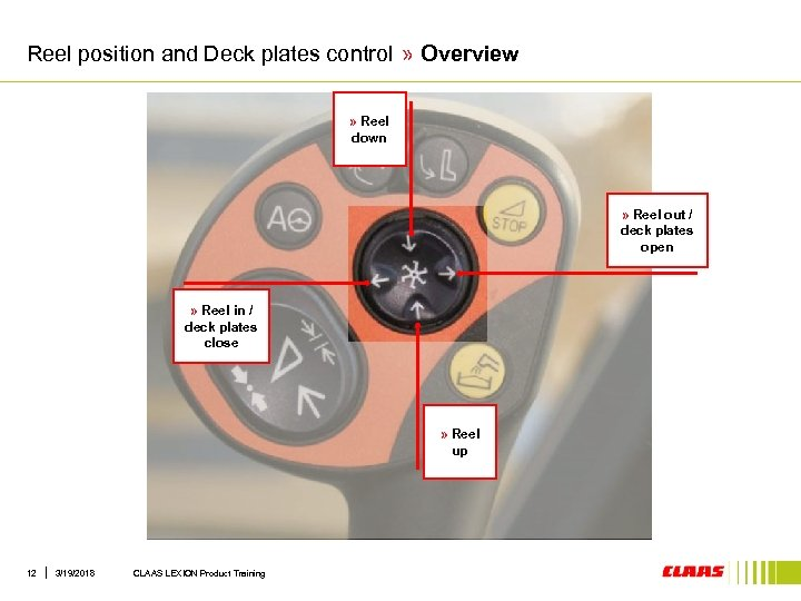 Reel position and Deck plates control » Overview » Reel down » Reel out