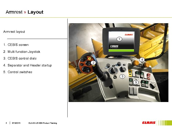 Armrest » Layout Armrest layout 1 1. CEBIS screen 2. Multi function Joystick 3.