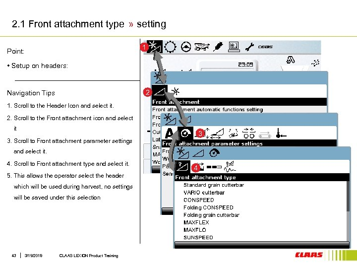 2. 1 Front attachment type » setting 1 Point: • Setup on headers: 2