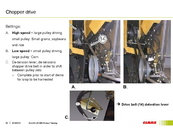 Chopper drive Settings: A. High speed = large pulley driving small pulley: Small grains,