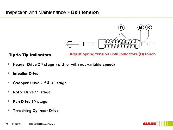 Inspection and Maintenance » Belt tension Tip-to-Tip indicators Adjust spring tension until indicators (D)