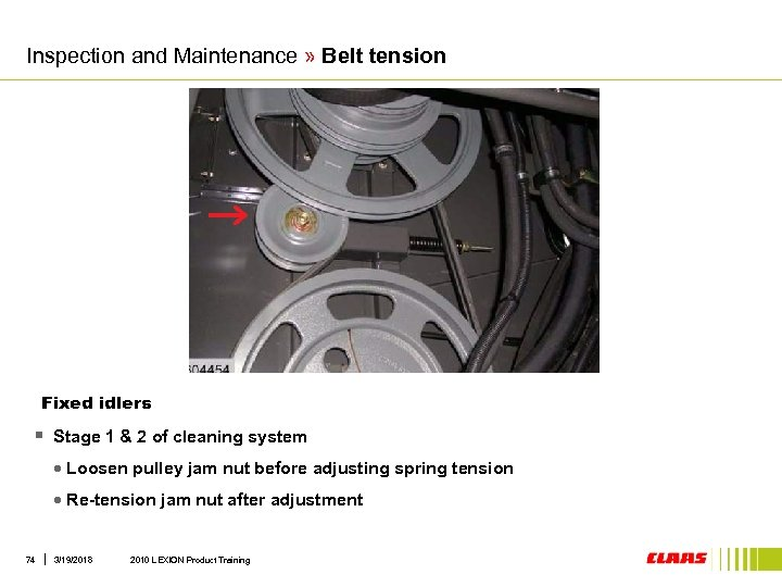 Inspection and Maintenance » Belt tension Fixed idlers § Stage 1 & 2 of