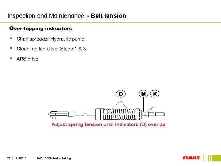 Inspection and Maintenance » Belt tension Over-lapping indicators § Chaff spreader Hydraulic pump §