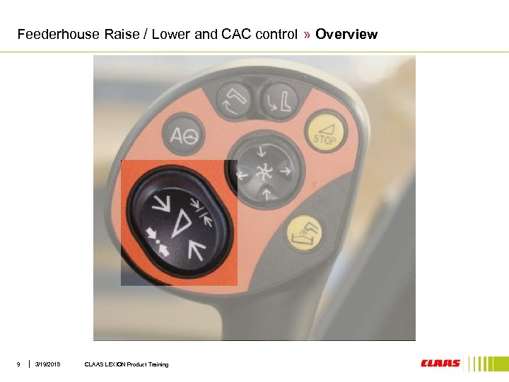 Feederhouse Raise / Lower and CAC control » Overview 9 3/19/2018 CLAAS LEXION Product