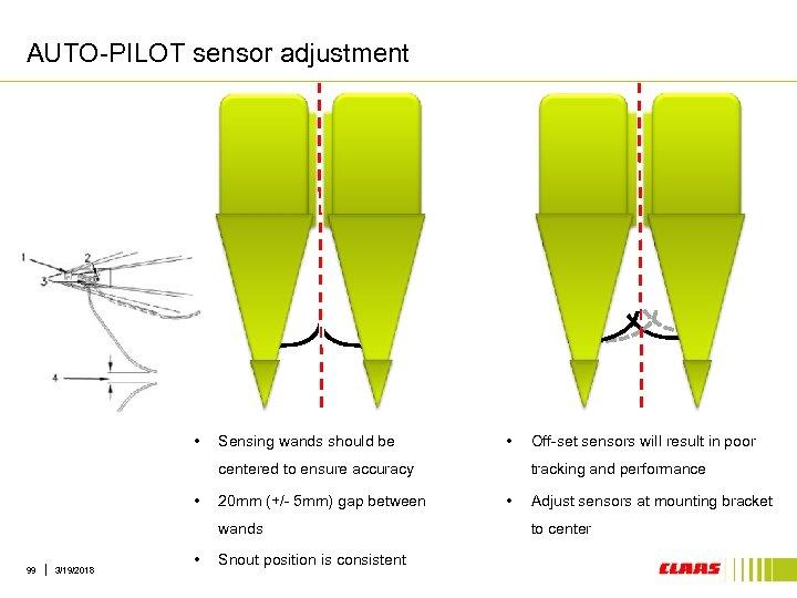 AUTO-PILOT sensor adjustment • Sensing wands should be • centered to ensure accuracy •