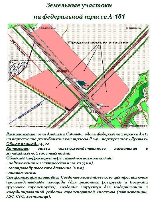 Земельные участоки на федеральной трассе А-151 Расположение: село Алешкин Саплык , вдоль федеральной трассе