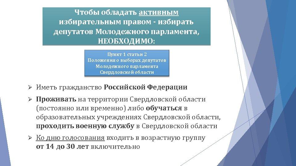Чтобы обладать активным избирательным правом - избирать депутатов Молодежного парламента, НЕОБХОДИМО: Пункт 1 статьи