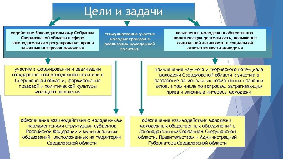 Цели и задачи содействие Законодательному Собранию Свердловской области в сфере законодательного регулирования прав и