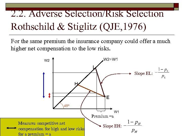2. 2. Adverse Selection/Risk Selection Rothschild & Stiglitz (QJE, 1976) For the same premium