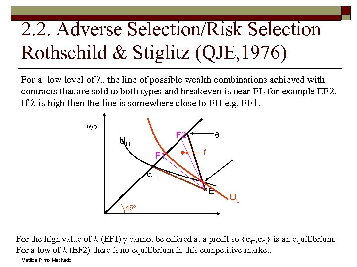 2. 2. Adverse Selection/Risk Selection Rothschild & Stiglitz (QJE, 1976) For a low level