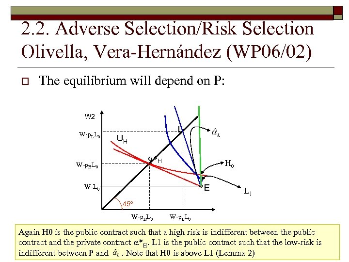 2. 2. Adverse Selection/Risk Selection Olivella, Vera-Hernández (WP 06/02) o The equilibrium will depend