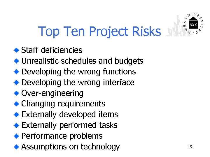 Top Ten Project Risks Staff deficiencies Unrealistic schedules and budgets Developing the wrong functions