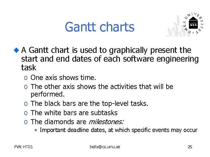 Gantt charts A Gantt chart is used to graphically present the start and end