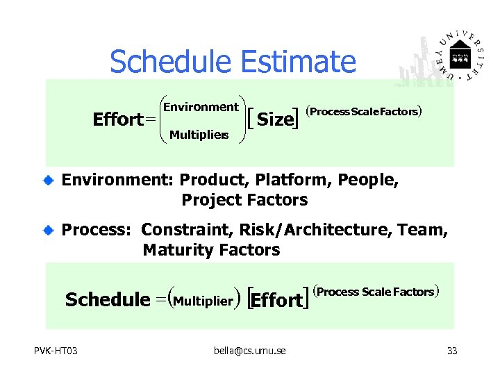 Schedule Estimate æEnvironmentö Effort = ç ç Multipliers ÷[ Size] ÷ è ø (Process