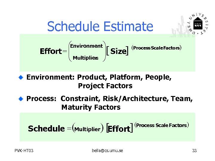 Schedule Estimate æEnvironmentö Effort = ç ç Multipliers ÷[ Size] ÷ è ø (Process