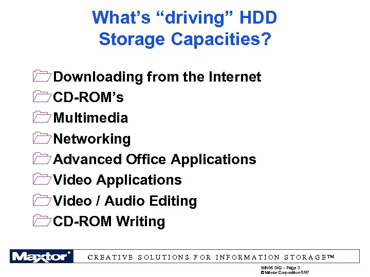 "What's ""driving"" HDD Storage Capacities? 1 Downloading from the Internet 1 CD-ROM's 1 Multimedia"