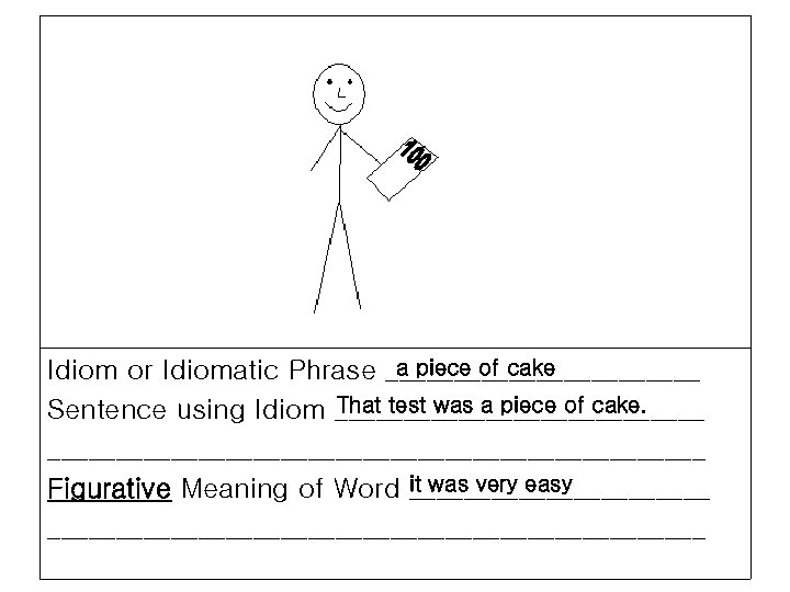 a piece of cake Idiom or Idiomatic Phrase ____________ That test was a piece