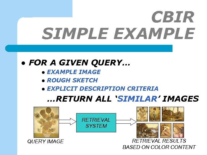 CBIR SIMPLE EXAMPLE l FOR A GIVEN QUERY… l l l EXAMPLE IMAGE ROUGH