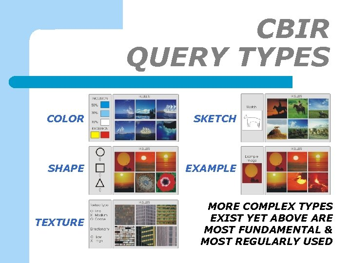 CBIR QUERY TYPES COLOR SKETCH SHAPE EXAMPLE TEXTURE MORE COMPLEX TYPES EXIST YET ABOVE