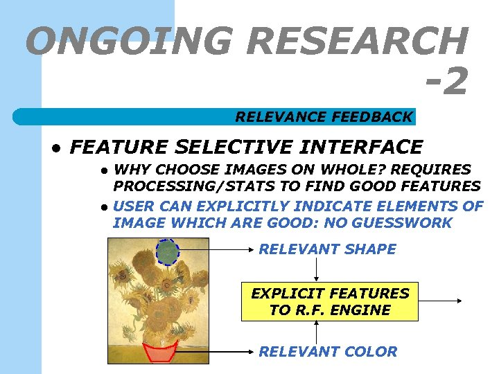 ONGOING RESEARCH -2 RELEVANCE FEEDBACK l FEATURE SELECTIVE INTERFACE l l WHY CHOOSE IMAGES
