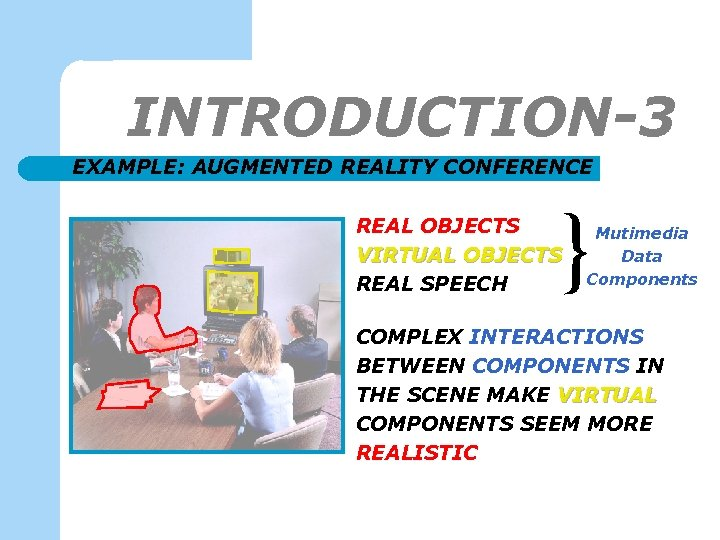 INTRODUCTION-3 EXAMPLE: AUGMENTED REALITY CONFERENCE REAL OBJECTS VIRTUAL OBJECTS REAL SPEECH Mutimedia Data Components