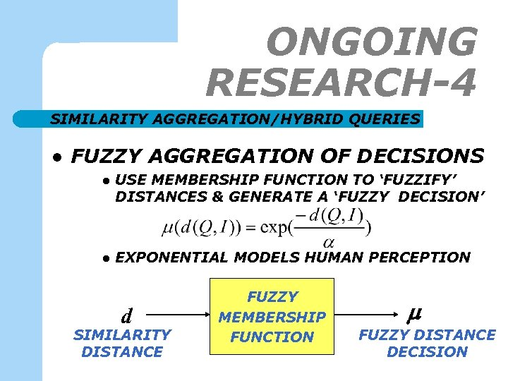 ONGOING RESEARCH-4 SIMILARITY AGGREGATION/HYBRID QUERIES l FUZZY AGGREGATION OF DECISIONS l USE MEMBERSHIP FUNCTION