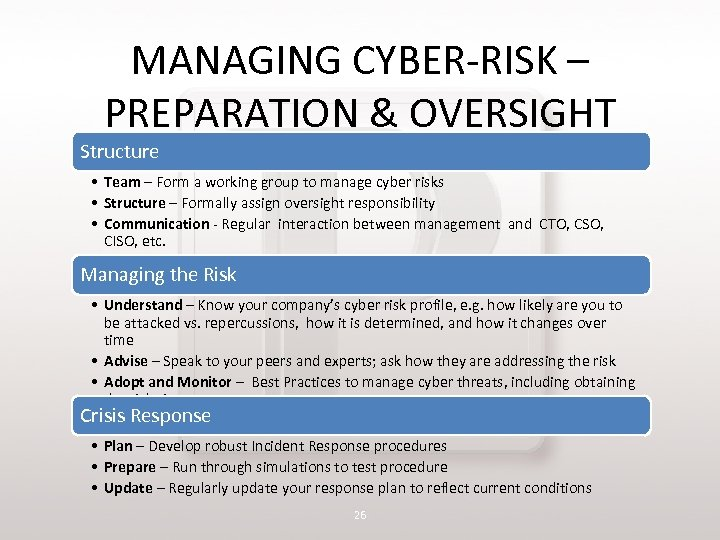 MANAGING CYBER-RISK – PREPARATION & OVERSIGHT Structure • Team – Form a working group