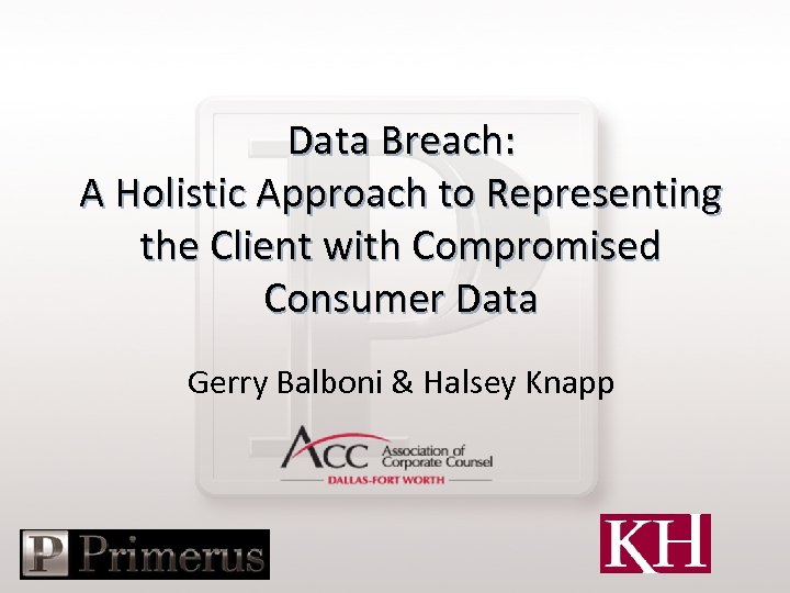 Data Breach: A Holistic Approach to Representing the Client with Compromised Consumer Data Gerry